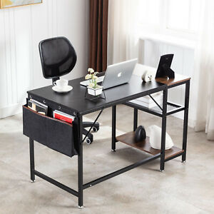 Computer Desk Study Writing Table Home Office With 2 Shelves Storage Bag