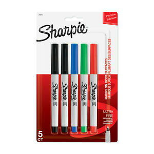 New Sharpie Permanent Markers Ultra Fine Point Assorted Colors 5 Count