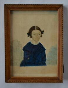 Early American Miniature Folk Art Painting Dated 1840