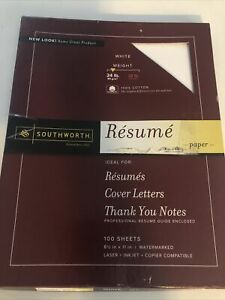 Southworth Fine Resume Paper 24 Pound 100 Cotton 60 Sheets Watermarked