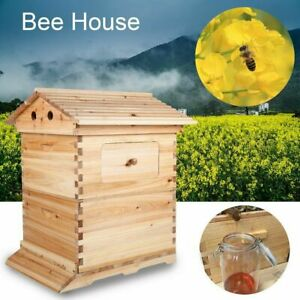 Wooden Beekeeping Box Without 7pcs Auto Free Flowing Honey Hive Beehive Frames