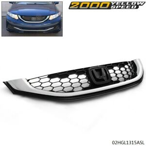 Fit For Honda Civic 2013 2015 Seden Front Upper Grille With Chrome Molding New