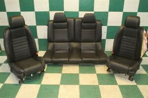 10 14 Mustang Coupe Black Leather Power Manual Bucket Seats Backseat Tracks