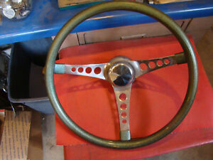 Vintage 500 Superior Green Sparkle Steering Wheel Rat Rod Dune Buggy Chevy Ford