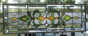 Stained Glass Transom Window Hanging 32 X 11 3 4 Incl Hooks