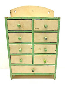 Grungy Cream Green Painted 14 1 2 Old 9 Drawer Wall Hanging Wood Spice Box