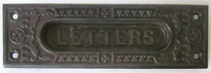 Antique Ornate Cast Iron Mail Box Plate Letters