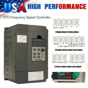 Single To 3 Phase 2 2kw 2hp 220v 12a Variable Frequency Drive Inverter Vfd E2e0