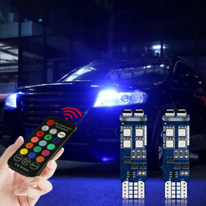 Car Parking Lights Multi Color Rgb 168 194 T10 Led Bulbs Withrf Remote Control Kit