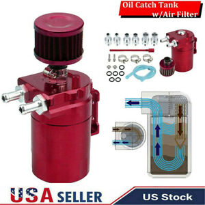 Red Aluminum Oil Catch Reservoir Breather Can Tank Filter Cylinder Engine Kit