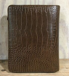 Franklin Covey Brown Faux Alligator Organizer planner 7 Ring 10 X 7