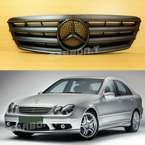2001 2007 Matte Black 4 Fin Front Grille For Benz W203 C Class 4 Door Wagon