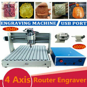4axis 1 5kw Usb 3040 Vfd Cnc Router Engraver Metal Engraving Drill Mill Machine