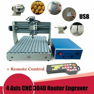 Usb Cnc 3040 Router Engraver Wood Cutter Drill Milling Machine 400w 4 Axis Rc