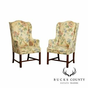 Hickory Chair Co Chippendale Style Pair Mahogany Host Wing Chairs