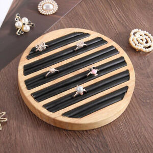 Wooden Flat Round Ring Display Tray For Countertop Retail Black Leather