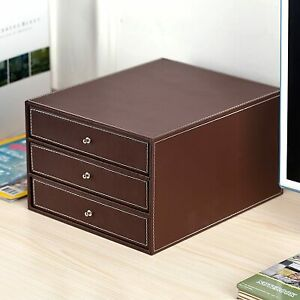 Executive 3 drawer Leatherette Office Filing Document Cabinet Drawer Box Brown