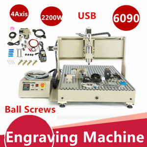 2 2kw Usb 4 Axis Cnc 6090 Router Engraver Engraving Machine Vfd Metal Carving Us