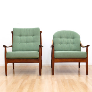 Mid Century His Her Lounge Chairs By Greaves Thomas Of London