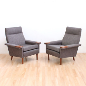 Pair Of Mid Century Lounge Chairs In Slate Gray