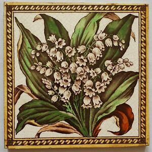 Antique Victorian Floral Tile Lily Of The Valley