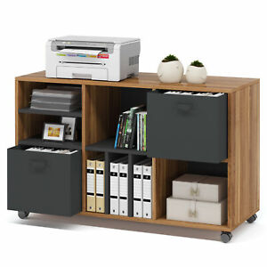 Tribesigns Vertical File Cabinet W 2 Fabric Drawers Open Shelves Printer Stand