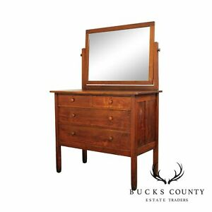 Stickley Brothers Antique Mission Oak Dresser With Mirror