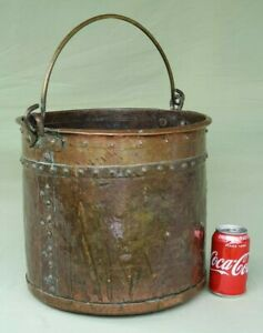 Lovely Victorian Antique Riveted Copper Coal Log Bucket With Brass Swing Handle
