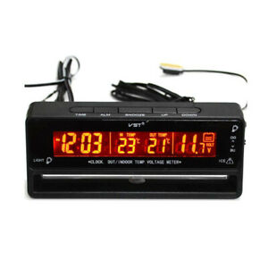 Car Auto Lcd Backlight Digital Clock Thermometer Inside Outside Temperature