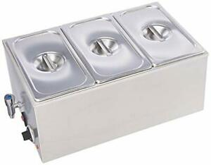 Commercial Grade Stainless Steel Bain Marie Buffet Food Warmer Steam Table