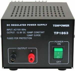 Used Tekpower Tp1863 12 Amp Dc 13 8v Regulated Power Supply With Fuse Protection