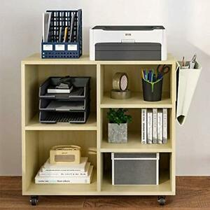 Wood File Cabinet With Movable Casters Home Office Rolling Printer Stand