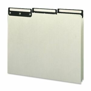 Smead 100 Recycled Pressboard File Guides Flat Metal 1 3 cut Tab With Insert