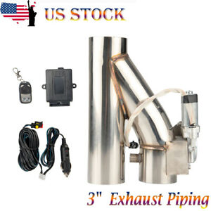 3 Inch 76mm Exhaust Control E Cut Out Single Valve Electric Y Pipe W Remote Kit