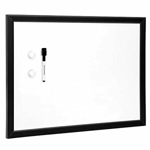Basics Magnetic Dry Erase White Board Whiteboard With Black Frame 23 X 17 Inches