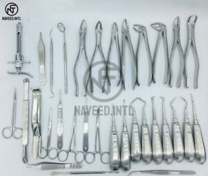 Set Of 32 Pcs Oral Dental Extraction Surgery Extracting Elevators Forceps
