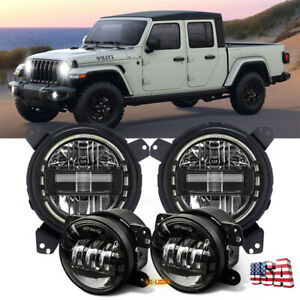 9 Bracket Halo Headlights Combo For Jeep Gladiator Jt Rubicon Willys 2020 2021