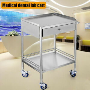 Clinic Medical Dental Lab Cart Trolley Stainless Steel Two Layer Single Drawer