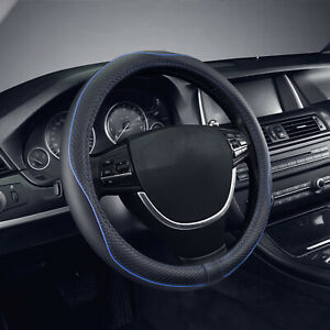 Black Blue Pu Leather Automobile Steering Wheel Cover Pu Universal Fit 15 Inches