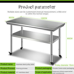 Stainless Steel 24 x47 Nsf Restaurant Kitchen Prep Work Table With Caster Wheel