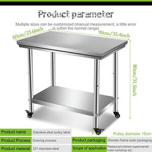 Stainless Steel 35 x24 Nsf Restaurant Kitchen Prep Work Table With Caster Wheel