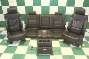 Note 14 18 Gm Truck Black Leather Heated Bucket Seats Backseat Jumpseat Console