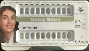 Radiance American Ortho Clear Orthodontic Brackets Lower Only 5x5 022mbt Hks345