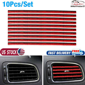 10x Red Car Truck Accessories Auto Air Conditioner Outlet Vent Decoration Strip