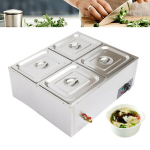 Food Warmer 4 pan Buffet Steam Table Bain Marie Restaurant Commercial Stainless