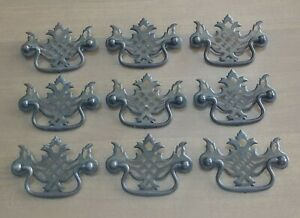 Antique Chippendale Pierced Batwing Drawer Pulls 3 Bore Set Of 9 Gold Steel