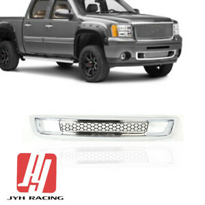 For Gmc Sierra 1500 Denali 2007 2013 Front Bumper Lower Grille Grill Chrome