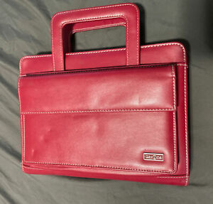 Day One Franklin Covey Red Planner Binder Organizer 7 Ring Retractable Handles