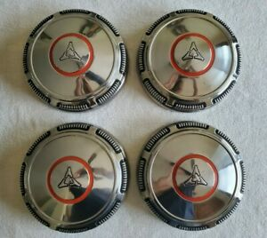Nos 68 69 70 71 Dodge Mopar Red Circle Dog Dish Hubcaps Stainless Steel Mint