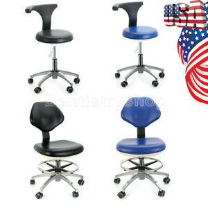 Dental Medical Doctor Assistant Stool Adjustable Height Mobile Chair Pu Leather